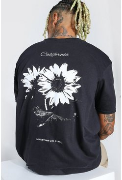 Black Oversized California Flower Back Print T-Shirt