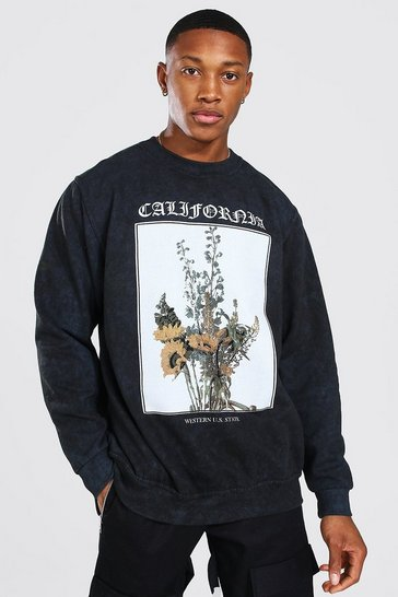 Charcoal grey Oversized Acid Wash Flower Print Sweatshirt