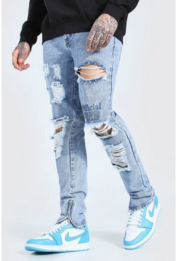 Skinny Rigid Ripped Jean With MAN Print, Light blue azul