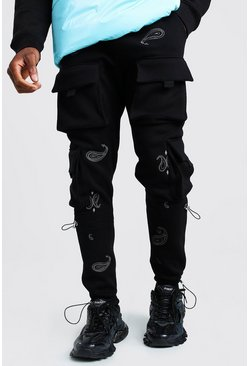 Black Jersey Cargo Jogger With Bandana Embroidery