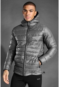 Grey MAN Active Hooded Puffer Jacket
