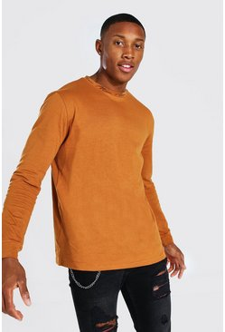 Rust orange MAN Signature Neck Print Long Sleeved T-Shirt