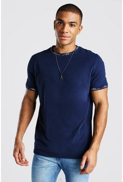 Navy Man Signature Neck And Cuff Print T-Shirt