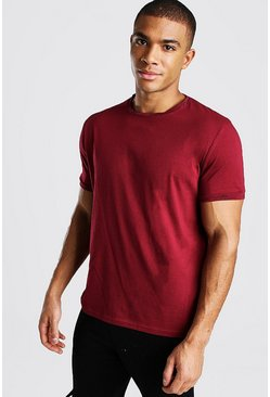 Man Signature Neck And Cuff Print T-Shirt, Burgundy rouge
