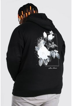 Black Plus Size Monochrome Rose Back Print Hoodie
