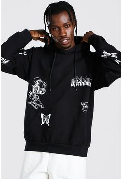 Black Oversized Multi Graffiti Print Hoodie