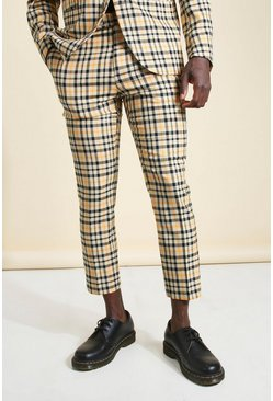 Camel beige Skinny Neon Check Cropped Suit Trouser