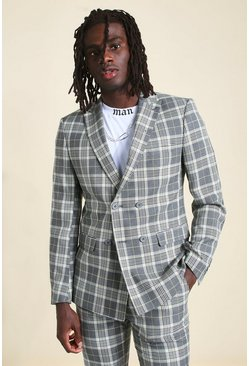 Grey Skinny Check Double Breasted Suit Jacket
