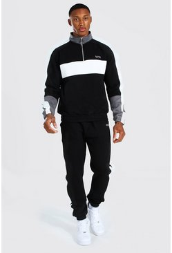 Black Man Colour Block Trainingspak Met Korte Rits