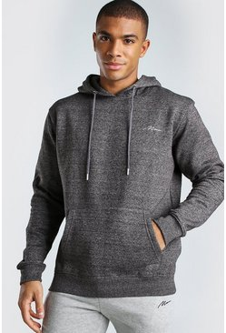 Charcoal grey Man Signature Embroidery Marl Hoodie