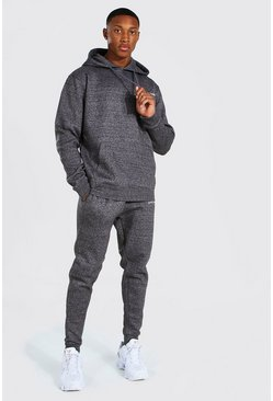 Charcoal Official MAN Marl Hooded Tracksuit