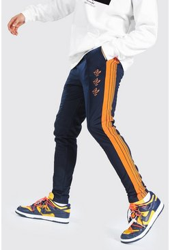 Navy Dove Embroidered Tricot Tape Jogger