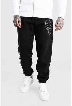 Black Loose Fit Official MAN Line Drawing Joggers