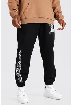 Black Loose Fit Official MAN Skull Statue Joggers