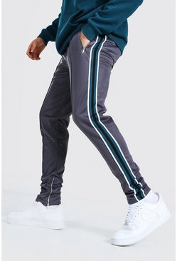 Charcoal grey Skinny Fit Pintuck Tricot Jogger With Side Tape
