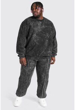 Charcoal grey Plus Size Man Raw Seam Acid Wash Tracksuit