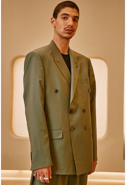 Sage green Relaxed Plain Double Breasted Suit Jacket