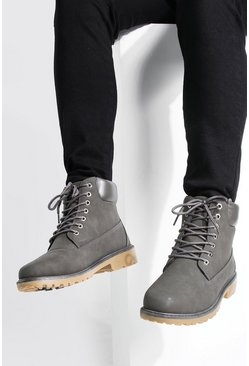 Grey Worker Boots