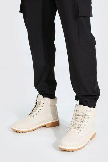 Ecru white Worker Boots