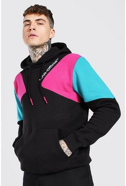 Black Man Official Printed Colour Block Hoodie