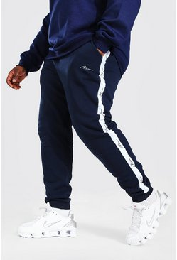 Navy Plus Size Man Skinny Fit Joggingbroek Met Biezen