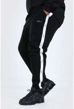 Black Plus Size Man Skinny Fit Joggingbroek Met Biezen