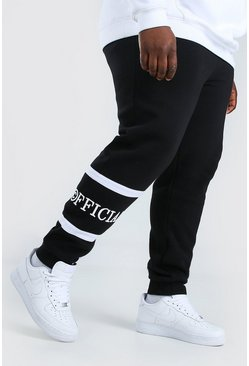 Black Plus Size Man Skinny Fit Joggingbroek Met Streep