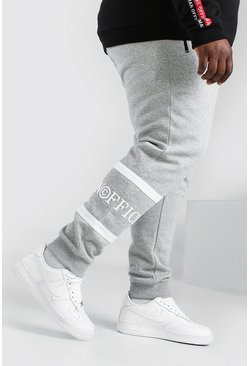 Grey marl grey Plus Size 3D MAN Skinny Fit Tape Jogger
