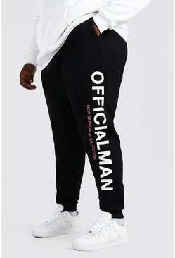 Black Plus Size Man Official Joggingbroek Met Beenopdruk