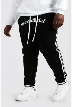 Black Plus Size Man Official Joggingbroek Met Streep