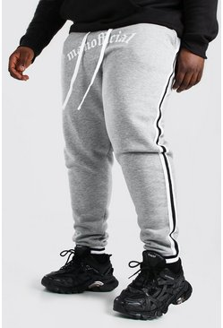 Grey marl grey Plus Size Man Official Joggingbroek Met Tape