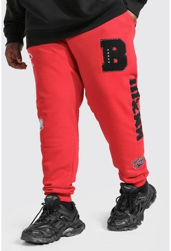Red Plus Size Man Official Varsity Joggingbroek