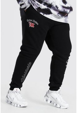 Black Plus Size Man Worldwide Varsity Joggingbroek