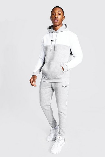 Grey Man Colour Block Hooded Tracksuit With Tape
