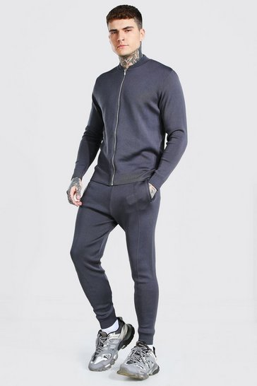 Charcoal grey Smart Knitted Bomber And Jogger Set