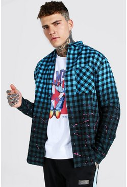 Ombre Checked Shirt, Blue Синий