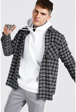 Grey Paint Splatter Checked Shirt