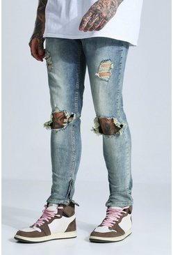 Antique blue Skinny Stretch Exploded Knee Ripped Jean