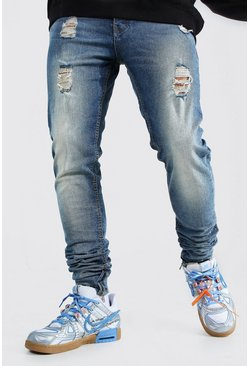 Light blue blue Skinny Stretch Stacked Distressed Jean