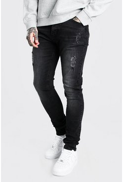 Washed black Skinny Stretch Stacked Distressed Jean
