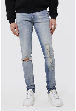 Light blue blue Skinny Stacked Busted Knee Distressed Jean