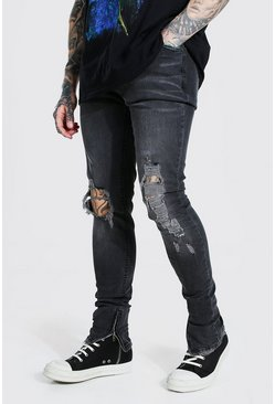 Charcoal grey Skinny Stacked Busted Knee Distressed Jean