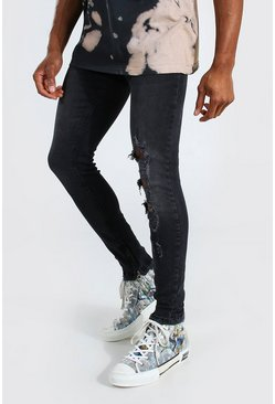 Washed black Skinny Stretch Jean With Distressing