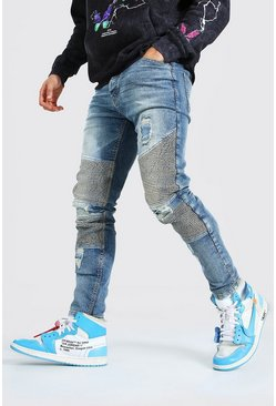 Mid blue blue Skinny Stretch Biker Jean With Distressing