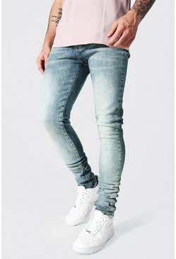 Antique blue Tapered Stacked Leg Jean With Ankle Zips