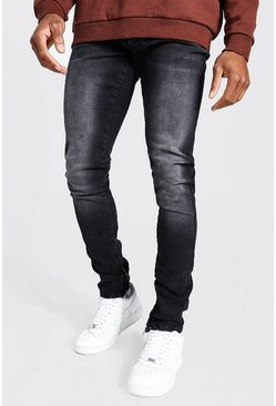 Washed black Tapered Stacked Leg Jean With Ankle Zips