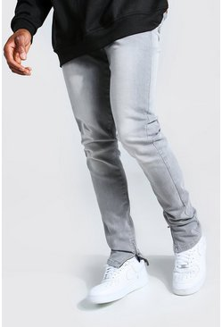 Tapered Stretch Stacked Leg Jean With Ankle Zips, Mid grey gris