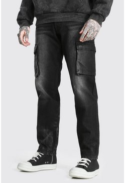 Washed black Relaxed Fit Rigid Cargo Jean