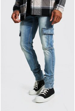 Light blue blue Skinny Stretch Stacked Leg Cargo Jean