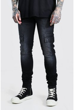 Washed black Skinny Stretch Stacked Leg Cargo Jean